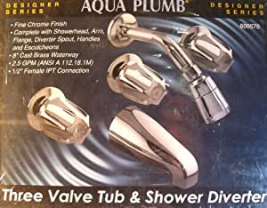 Aqua Plumb 1855050 8-Inch Three-Handle Polished Chrome Heavy-Pattern Tub/Shower Faucet with Tub Spout, Shower Head, and Shower Arm
