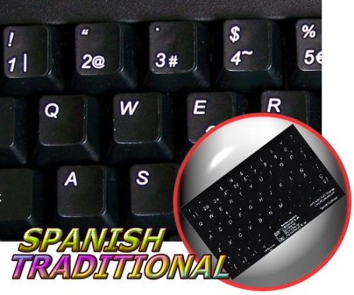 SPANISH (TRADITIONAL) NON-TRANSPARENT KEYBOARD STICKER BLACK BACKGROUND FOR DESKTOP, LAPTOP AND NOTEBOOK