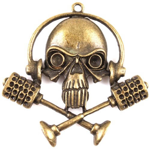 4Pcs Antique Bronze Charms Wearing Microphone Skull Head Alloy Handmade Findings