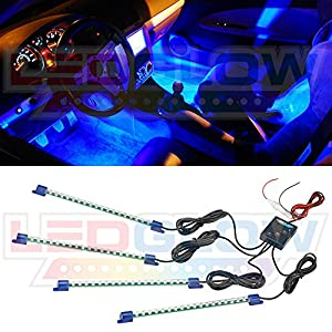 4pc. Blue LED Interior Underdash Lighting Kit