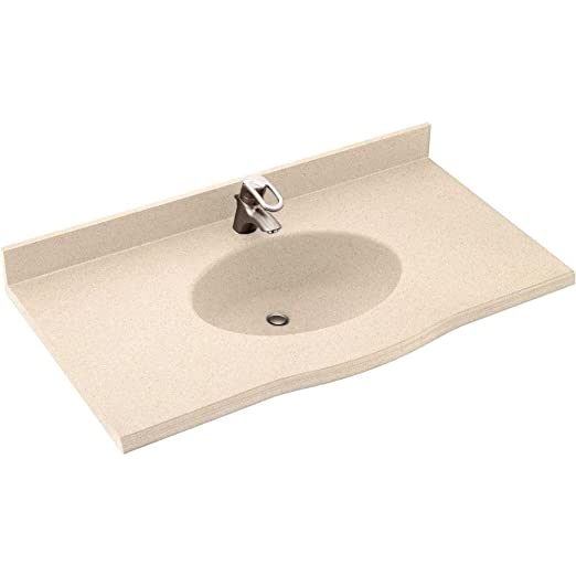 Swanstone EV1B2255-040 Europa 55-Inch Solid Surface Vanity Top with Bermuda Sand Basin