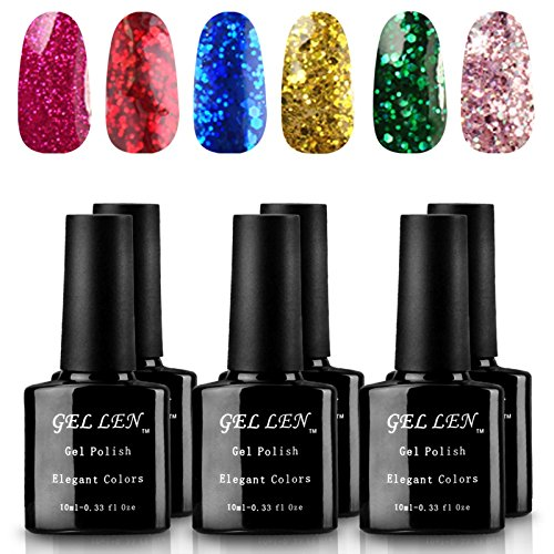 Gellen-Inventory-liquidation-UV-LED-Glitters-Gel-Nail-Polish-6-Colors-Set-10ml-Each