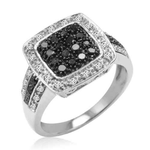 1/2ct Sterling Silver Black and White Diamond Ring ( Available Sizes 6-8) Size 8