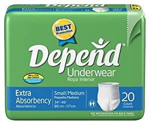 Depend Underwear, Small-medium, 20-Count Packages (Pack of 4)