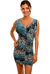 G2 Fashion Square Women's Printed Ruched Printed Dress