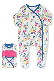 3 Pack Pure Cotton Vintage Style Assorted Sleepsuits