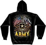 Army Hooded Sweat Shirt Double Flag Us Large Black