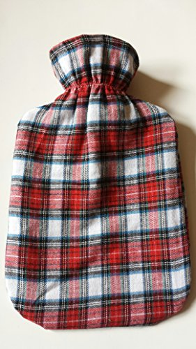 Warm Tradition Red Plaid Flannel Covered Hot Water Bottle - Bottle Made In Germany, Cover Made In Usa