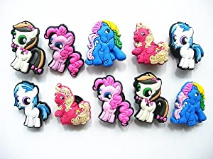 10 My Little Pony Shoe Charms for Jibbitz Croc Shoes & Wristband Bracelet