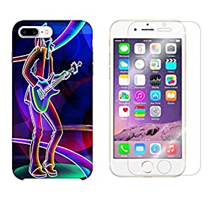 Snoogg Neon Rockstar Combo Designer Protective Back & Shatter Proof Tempered Glass For APPLE IPHONE 7 PLUS