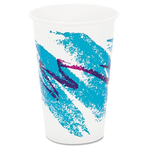 SOLO Cup Company Jazz Waxed Paper Cold Cups, 16 oz, Tide Design - Includes 20 packs of 50 each.
