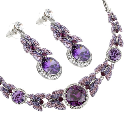 Butterfly Necklace  &  Earrings Jewellery Set. Finest Amethyst  &  Clear Swarovski  &  Czech Crystals on a Rhodium Plated Setting.