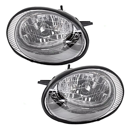Driver and Passenger Headlights Headlamps with Black Reflector Replacement for Ford XF1Z 13008 BA XF1Z 13008 AA (1999 Taurus Headlight Assembly compare prices)