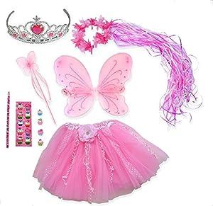 Pink Fairy Princess 6 Pc Costume Set: Wand, Halo, Tutu, Wings, Tiara