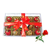 Amazing Wrapped Chocolates With Red Rose - Chocholik Luxury Chocolates