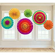Fiesta Colorful Paper Fans Round Whee…