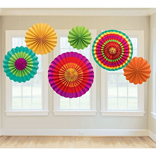 Review Fiesta Colorful Paper Fans Round Wheel Disc Southwestern Pattern Design for Party, Event, Hom...