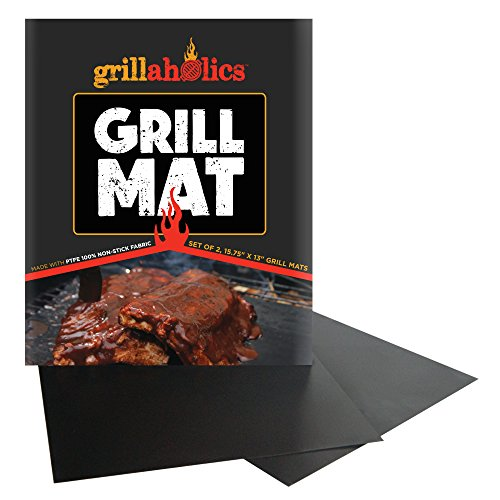 Grillaholics Grill Mat - Set Of 2 - Ultimate Bbq Grill Mat On The Market - Heavy Duty Ptfe Fabric - Bonus Gifts - Non-Stick, Grilling Surface For Your Electric, Gas, Or Outdoor Charcoal Barbeque Grill - Works With Weber, Big Green Egg, Charbroil, And More