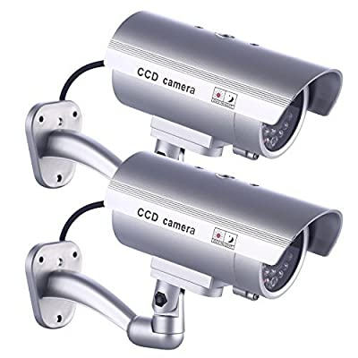 IDAODAN Dummy Security Camera, Fake Cameras CCTV Surveillance System with Realistic Simulated LEDs for Home Security + Warning Sticker Outdoor/Indoor Use