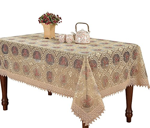 Custom Vintage Beige Tablecloth Linen Embroidered Floral Lace Pattern Translucent Gauze Oval 60 By 84 Inch long (Custom Table Cloths compare prices)