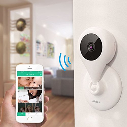 MiSafes 1280x720p HD C303-1 Mini Wireless Surveillance Camera with Microphone Speaker with 2 Way Talk & Remote Monitoring System for iOS & Andriod App, White