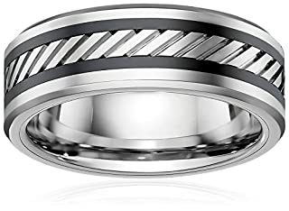 Men's Two-Tone Cobalt and Black Ceramic Striped Inlay Band Wedding Band, Size 10