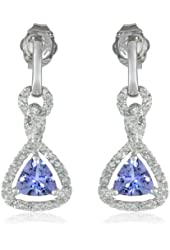 White-Gold Diamond and Tanzanite Hanging Earrings (0.1cttw, G-H Color, I2-I3 Clarity)