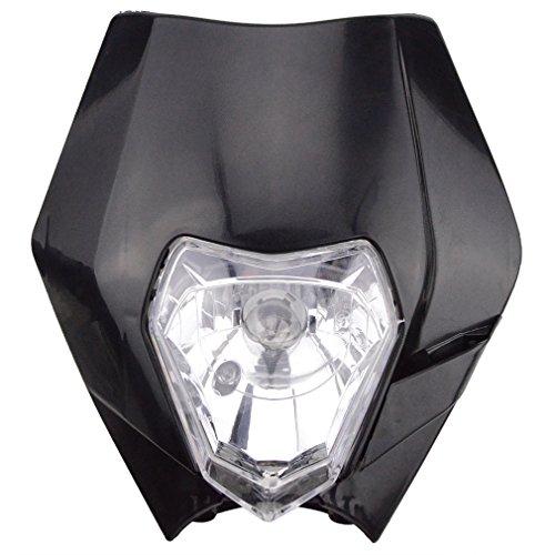 GOOFIT Universal 12V 35W Motorcycle Supermoto Halogen Headlight Indicator Fairing Lampshade for Dirt Bike Motor Black (Dirt Bike Headlight compare prices)