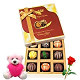 Valentine Chocholik Luxury Chocolates - Various Taste Of Collection Of Truffles With Teddy And Rose