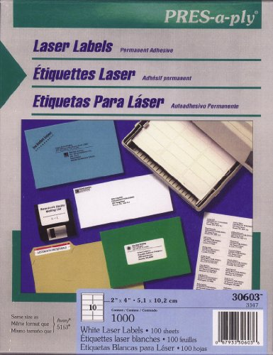 Pres-A-Ply Laser Labels, 2 X 4 Inch, White, 1000 Count (30603)