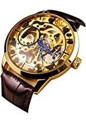 Suppion Men Mechanical Skeleton Watch Hand Wind up Gold Dial Black Leather Strap