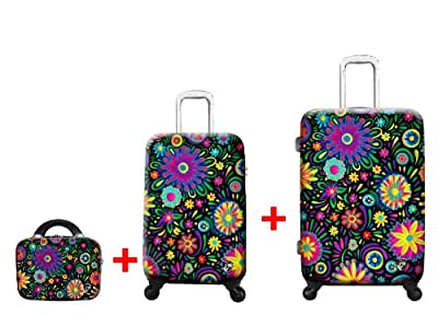 Heys USA - 3pcs. - SET 100 GBP Discount - Limon Flowers Dance, High-quality designer artist luggage set - 55 cm hand luggage, 66 cm 4-wheels Trolley and Beauty Case from Heys USA