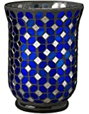 Biedermann & Sons Mosaic Hurricane Candle Holder, Blue and Silver
