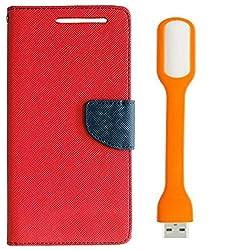 Novo Style Book Style Folio Wallet Case NokiaLumia520 Red + Mini USB LED Light Adjust Angle / bendable Portable Flexible USB Light