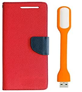 Novo Style Book Style Folio Wallet Case Sony Xperia Z2 Red + Mini USB LED Light Adjust Angle / bendable Portable Flexible USB Light