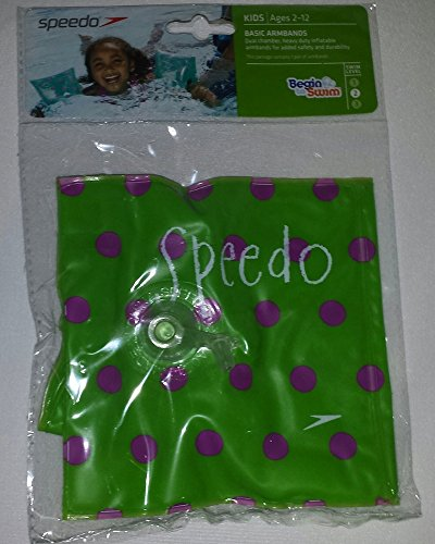 Speedo Basic Inflatable Armbands, Level 2 Swim Aids, Ages 2+, Lime Green with Purple Polka Dots - 1