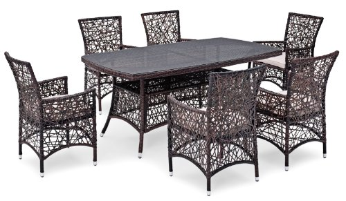 7-piece Landmann Timandra Patio Dining Set - outdoor rattan rectangular table with 6 armchairs, dark brown
