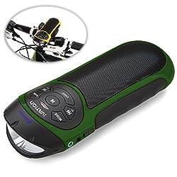 Ivation Bike Beakon: Portable Rechargeable Bluetooth Speakers & MP3 Player w/MicroSD Card Slot, AUX Input, FM Radio & Built in Flashlight - Camo Green