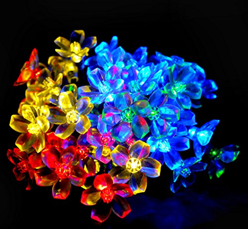 Upgraded Solar Powered Multicolor LED Flower Fairy String Lights Blossom Lighting 21ft x 50 lights- Perfect for Outdoor Wedding,Christmas Party, Garden Decoration - Energy Saving and Friendly