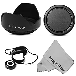 58MM Tulip Flower Lens Hood + Snap-On Lens Cap + Cap Keeper Leash + MagicFiber Microfiber Lens Cleaning Cloth