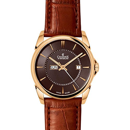 Charmex New Yorker 2617 42mm Gold Plated Stainless Steel Case Brown Calfskin Synthetic Sapphire Men's Watch