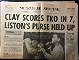 img - for Milwaukee Sentinel (newspaper), Wednesday morning, February 26, 1964: Clay Scores TKO in 7,