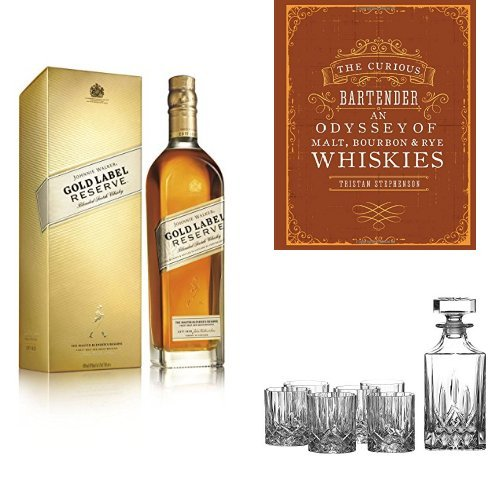 discount duty free Bundle: Johnnie Walker Gold Label Reserve Blended Scotch Whisky 70cl, The Curious Bartender: An Odyssey of Malt, Bourbon & Rye Whiskies and Royal Doulton Crystal Decanter Seasons Set of 7