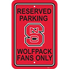 Buy NCAA North Carolina State Wolfpack 12-by-18 inch Plastic Parking Sign by BSI