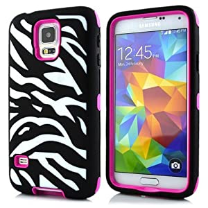 Sean Zebra Stripe Hybrid Protective Case with Combo Defender Shockproof Function for Samsung Galaxy S5 I9600 (Rose)