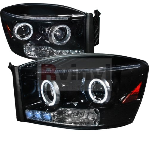 Dodge Ram 2006 2007 2008 Led Halo Projector Headlights - Black