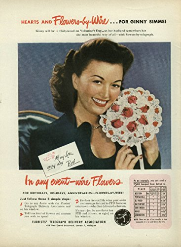 Ginny Simms for Florists Telegraph Delivery FTD ad 1946