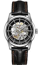 Hamilton Railroad Skeleton Silver / Black Leather Automatic Analog Men's Watch H40655731