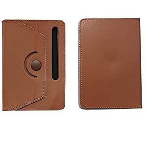 BRAIN FREEZER ROTATING WITH BUTTON 7INCH FLIP FLAP CASE COVER POUCH CARRY FOR MICROMAX P365 BROWN