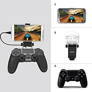 Thboxes PS4 Slim Smart Handle Clip Cell Mobile Phone Clamp Holder with OTG Cable for Playstation 4 Controller Black